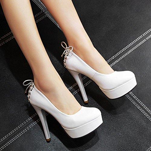 Latasa Womens Shoelace Pattern Platform High Heels Dress Pumps White pAsG7y