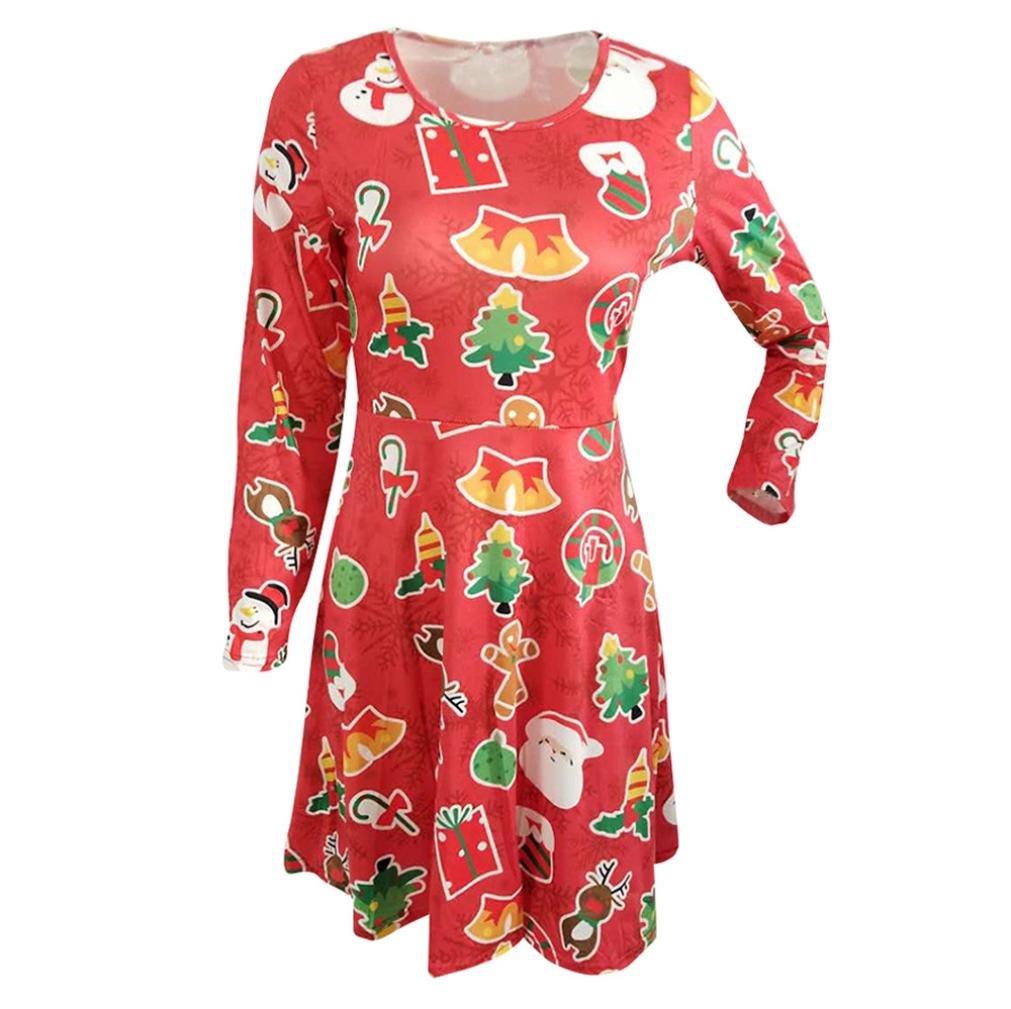 Longay Women's Christmas Red Long Sleeve Loose Swing Tunic Shirt Dress (XXL)