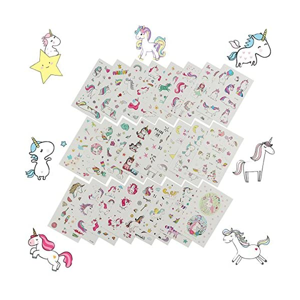 Hraindrop 350PCS Unicorn Temporary Tattoos for Kids Birthday Party, Girls Party Favors, Unicorn Party Supplies Party Favors(25Sheets) 4
