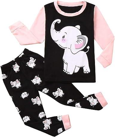 2PCS Toddler Baby Kids Boy Girl Cartoon Long Sleeve Tops Pants Pajama Outfit Set