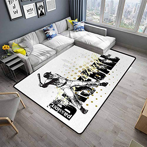 """Baseball,Floor Mat Kitchen Long Carpet 60""""x 96"""" Baseball Background with Dots and Grunge Dark Lettering Batting Team Game Indoor Outdoor Rugs Black Yellow White"""
