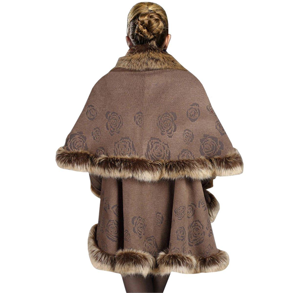 KAXIDY Mujer Abrigo de piel de Imitación Ropa de abrigo Chaquetas Capa del Mantón (Caqui): Amazon.es: Ropa y accesorios