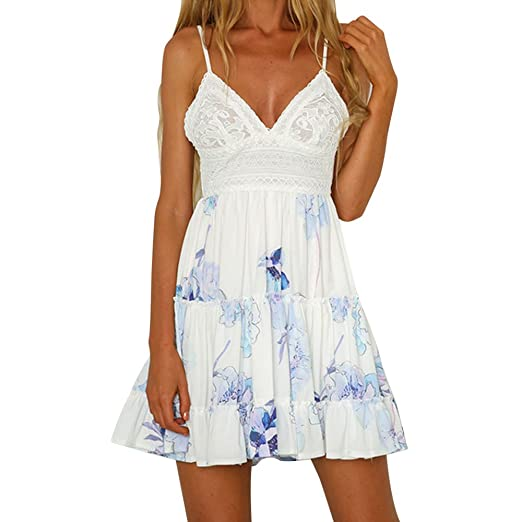 5ee011d36a34 Vickyleb Women Summer Dress Sexy Halter V Neck Swing Backless Ruffles Mini  Dress with Bow White
