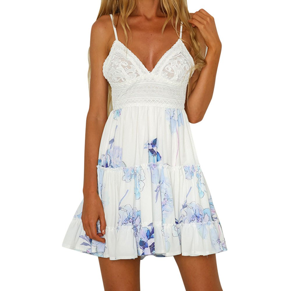 79a0d259ec3 Amazon.com  Sundresses For Women 2019 ! Liraly Ladies Summer Backless Mini Dress  White Evening Party Beach Dresses  Clothing