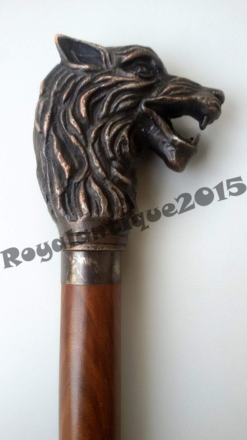 Unique & Customized Gifts Designer Wolf Head Style Handle with 2 fold Wooden Walking Stick Cane by Unique & Customized Gifts