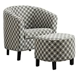 "Monarch Specialties I 8060 Grey""Circular"" Fabric Accent Chair and Ottoman, 30"""