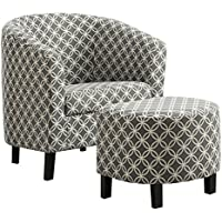 Monarch Specialties Grey Circular Fabric Accent Chair and Ottoman, 30-Inch