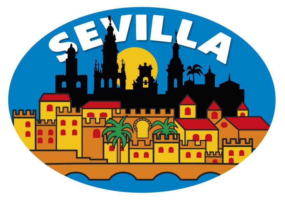 Artimagen Pegatina Oval Ciudad Sevilla 80x60 mm