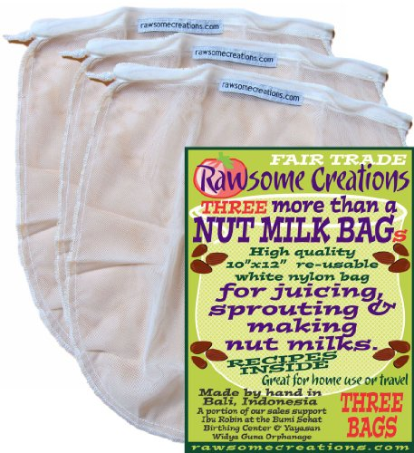 Rawsome Creations Fair Trade White Nylon, Reusable, 2.5Q Strainer/Filter Bags w/Medium Grade Mesh & Drawstring | 3 Pack | Make Your Own Organic Nut Milks, Cold Brew Coffees, Juices & Teas