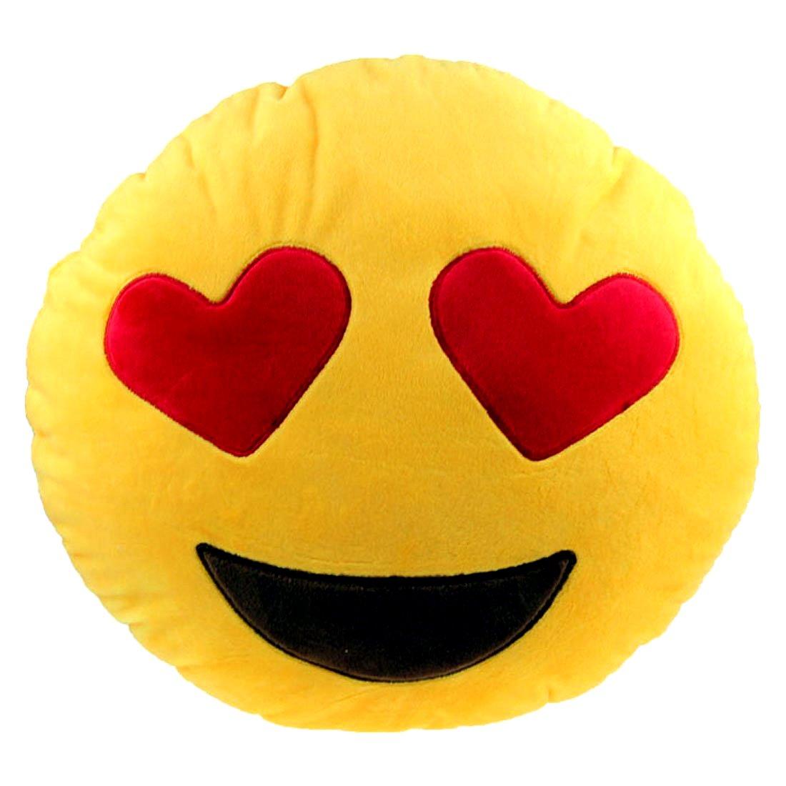 Brigamo 510 emoticon kissen aus plüsch 30 cm durchmessersmiley kissen mit diversen motive zum sammeln emoji mit herzaugen amazon de spielzeug