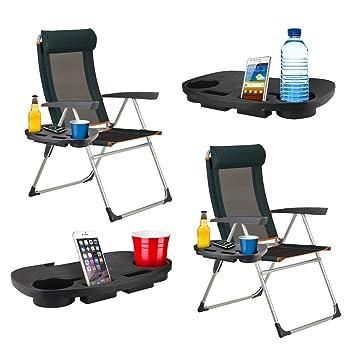 2 mesas auxiliares portátiles de clip con portavasos para aire libre, camping, jardín, pesca, playa: Amazon.es: Deportes y aire libre