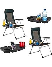 2mesas auxiliares portátiles de clip con portavasos para aire libre, camping