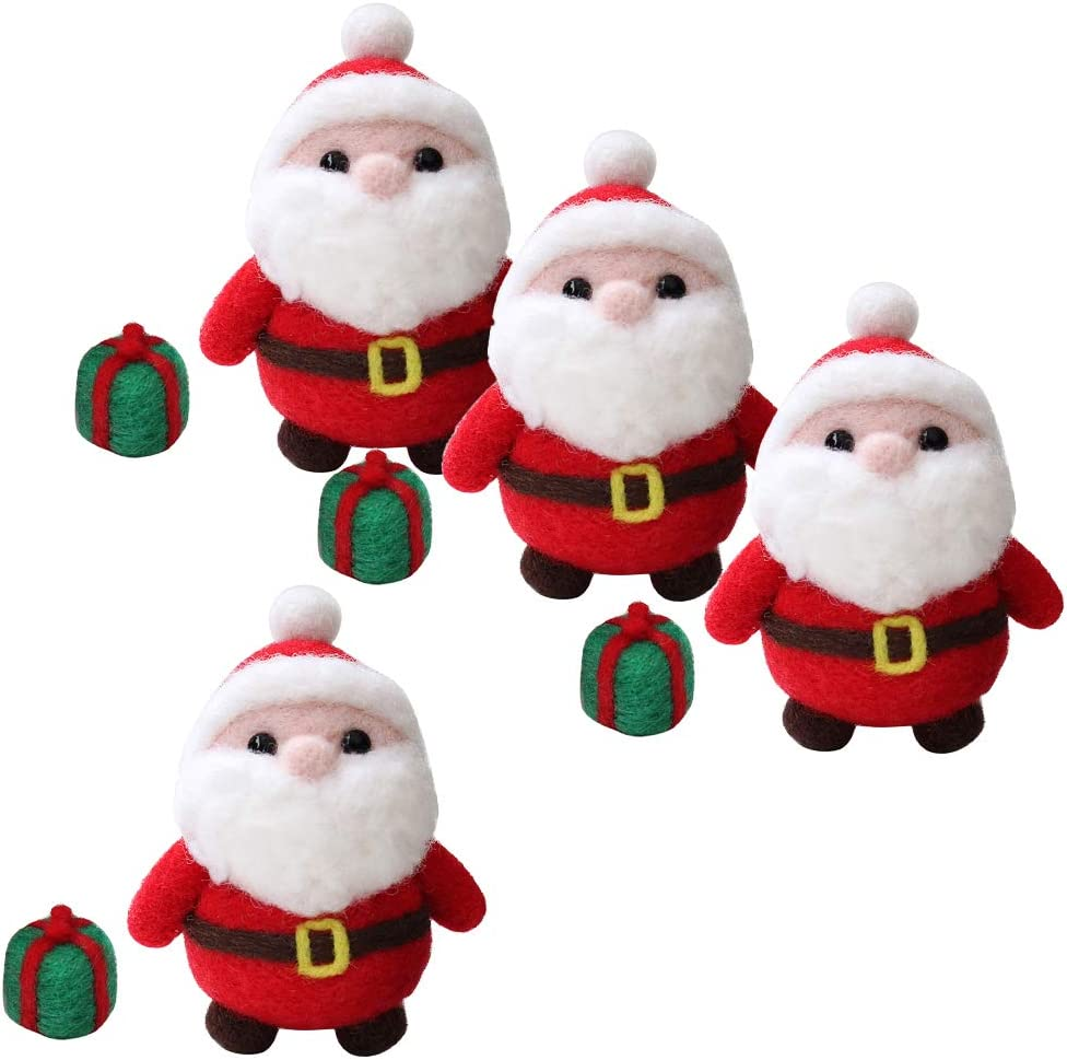 Needles LoveinDIY 4-Packs Lovely Needle Felting Santa Claus Kit Needle Felted DIY with Instructions Wool