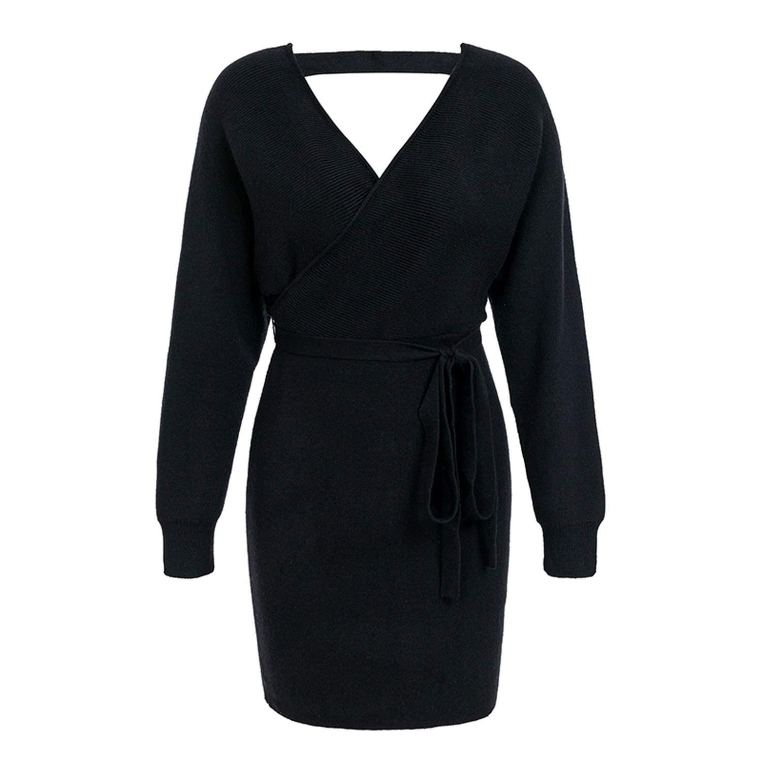 Black MTStyle V Neck Knitted Warp Vintage Long Sleeve Winter Hollow Out Belt Bodycon Dress Sexy