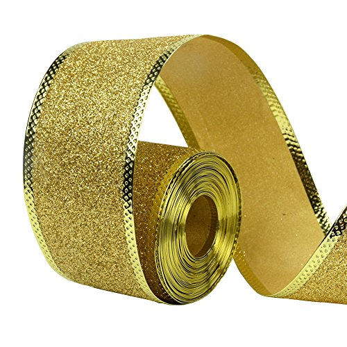 Glitter Holiday Bling Ribbon (33Ft/10Meters Golden Glitter Christmas Ribbon Wreath Present Weeding Arts Crafts Gift Wrapping)