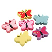 Perlin–20stk Cuentas de Madera 22mm Infantil Perlas Mariposa
