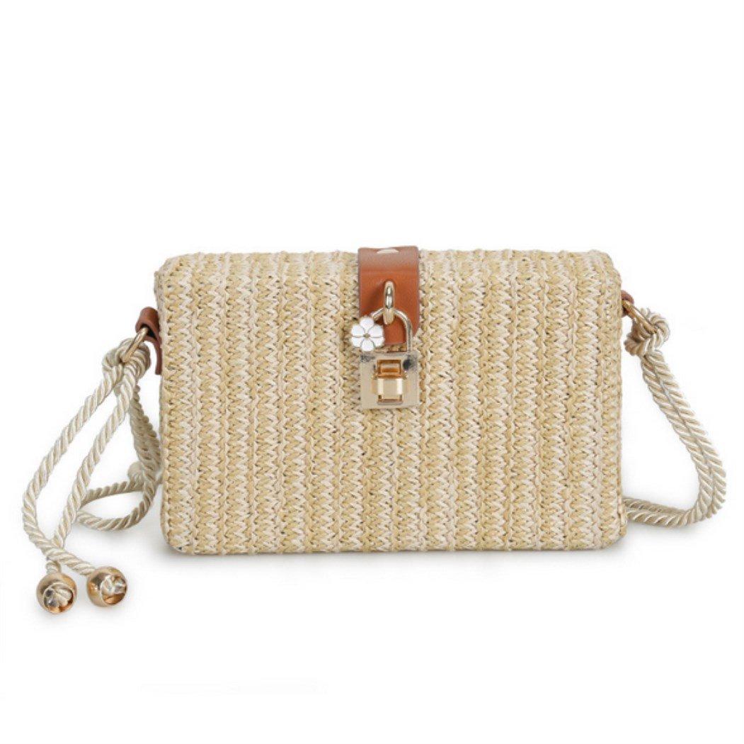 Nodykka Clutch Purses For Women Shoulder Rattan Straw Bag Retro Box Rectangular Wicker Summer Beach Straw Satchel