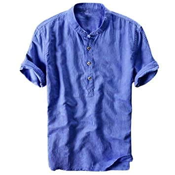 AG&T Camisetas Hombre Manga Corta Color Puro Algodón de Cáñamo ...