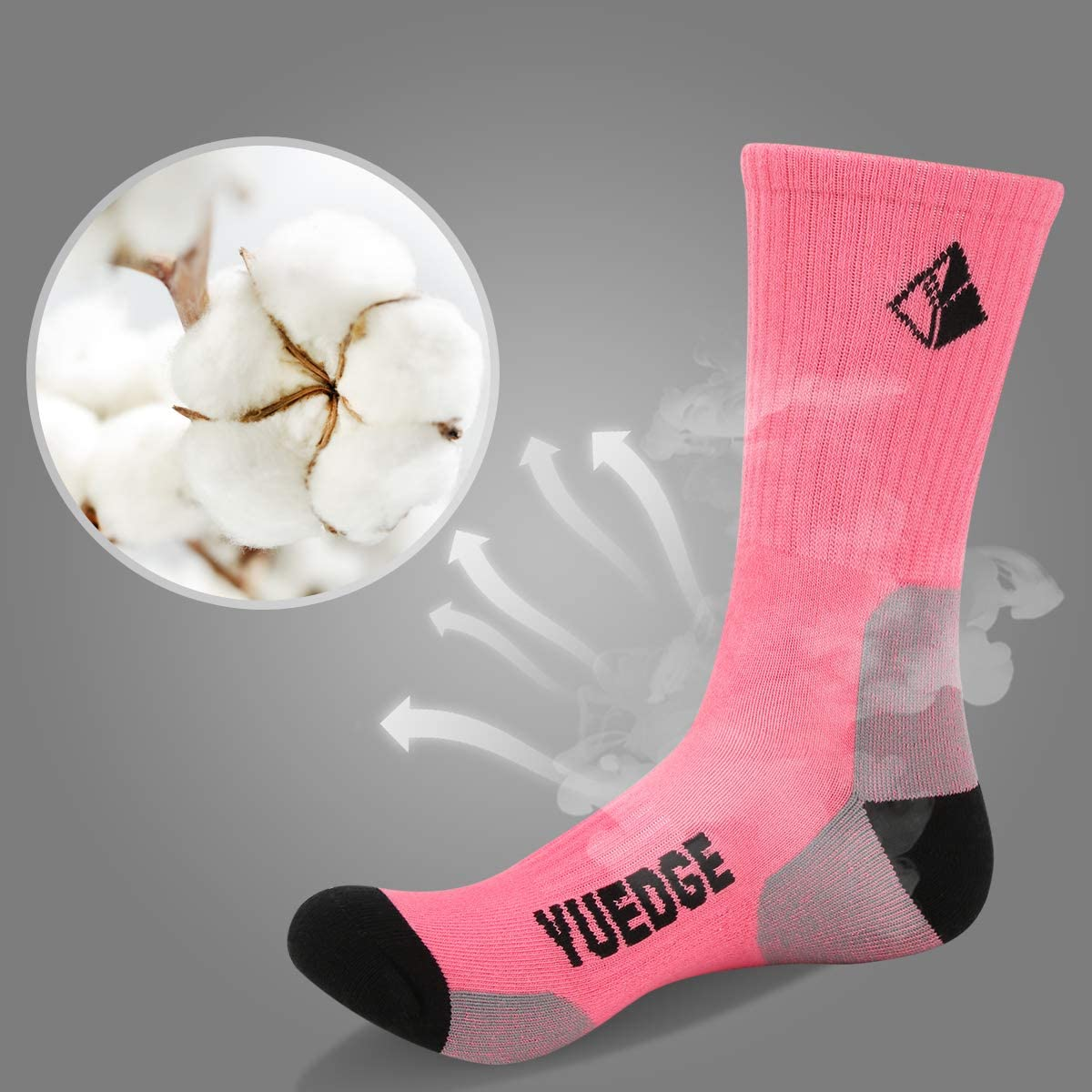 YUEDGE 2 Pares Mujeres Calcetines de Senderismo Trekking Anti ampollas Transpirables Corriendo Calcetines Deportivos