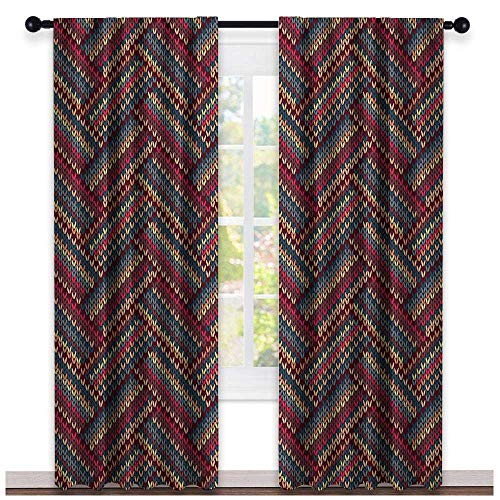 (hengshu Red and Brown, Curtains Blackout 2 Panels, Classical Knitting Pattern Image Autumnal Colors Herringbone Zigzag Stripes, Curtains Girls Room, W108 x L96 Inch Multicolor)
