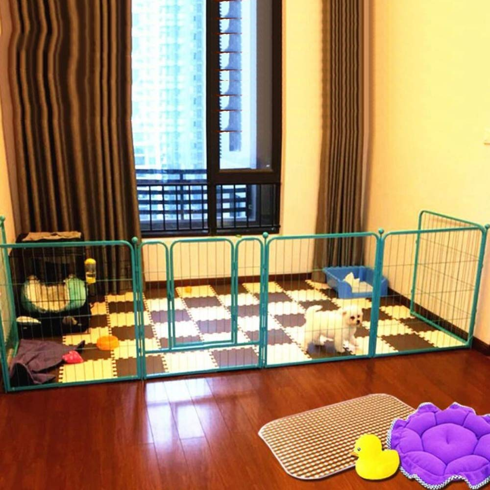 bluee Pet Playpen, Apply for Indoor Outside Dog Exercise Pen Cat Fence with Door 6-Panels, Small Animals Playpen Cage Kennel,bluee