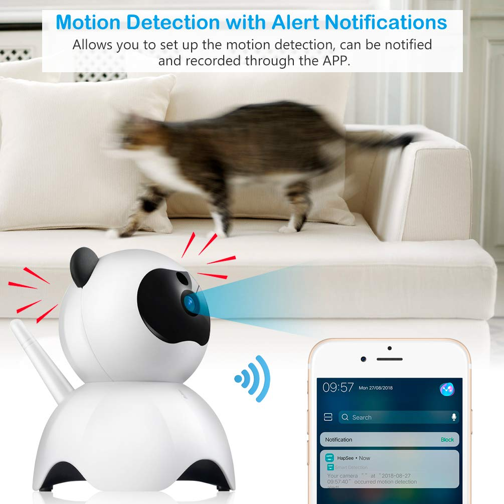 Petacc Pet Camera Night Vision Dog Camera Indoor Cat Camera Wireless IP Camera for Pet Monitor, 2.4GHz, Two-Way Audio, 1080P Video, Motion Detection, Pan 350°, Tilt 65° by Petacc (Image #8)