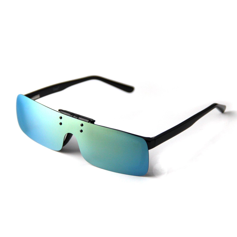 Cyxus Clip on Lunettes de Soleil Sports Polarized avec lentille de Miroir Coupe-Vent, Hommes/Femmes Lunettes de Soleil sans Bord pour Vélo de Ski Pêche Running Driving Golf (Vert)