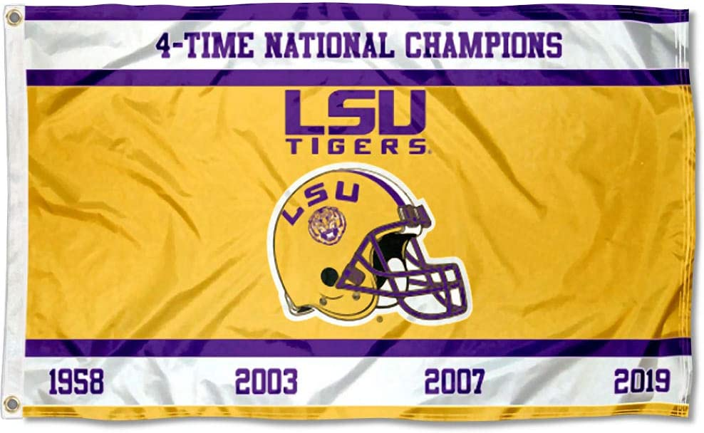 College Flags & Banners Co. Louisiana State LSU Tigers 4 Time Football Champions Flag