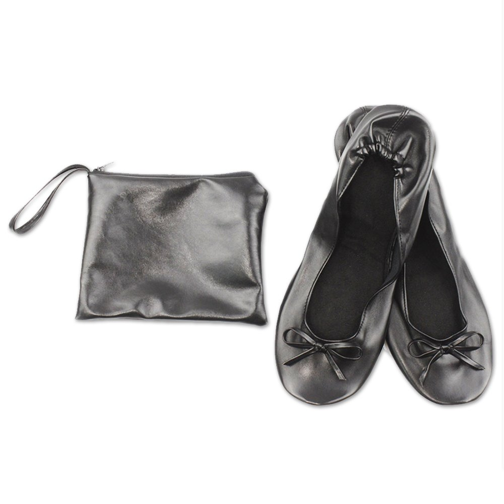 JJPRIME - After Party Shoes with Foldable Bag, Foldable Ballet Pumps, Roll up Foldable Pumps,Black, 5/6 UK