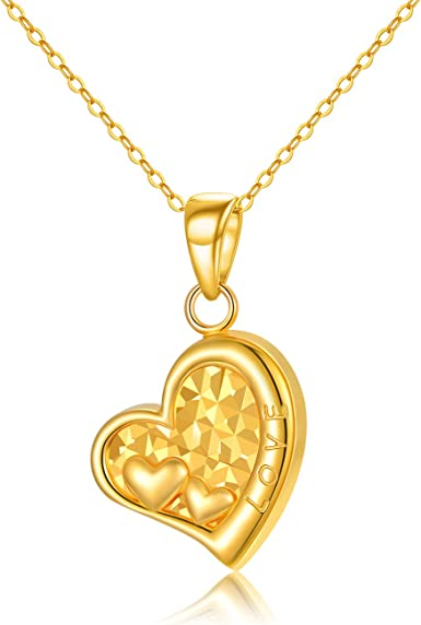 14k Solid Gold Heart Necklace  Love You Necklace  Mom Gift  Gift for Her  Zirconia  Heart  Brilliant  Happy Mothers Day