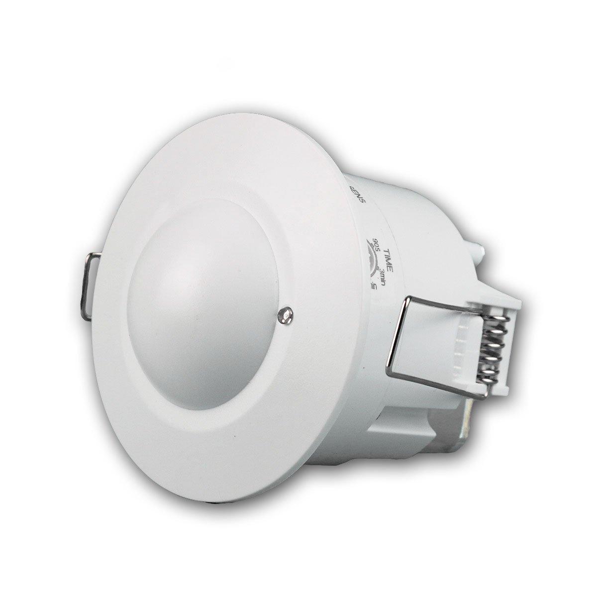Decken-Einbau-Bewegungsmelder 360° flach LED geeignet einstellbar 6m Detektion weiß 230V (Infrarot Slim) ChiliTec GmbH