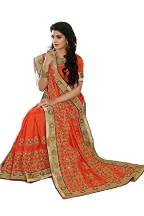 f73ed66ef8 Amazon.com: Samudrika Gorgeous Designer Mixed Silk Saree Orange Zari And  Stone Work: Clothing