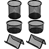 TecUnite 6 Pieces Metal Mesh Pen Holder Business Card Organizer Paper Clip Collection Holder for Office, School and Home, Black