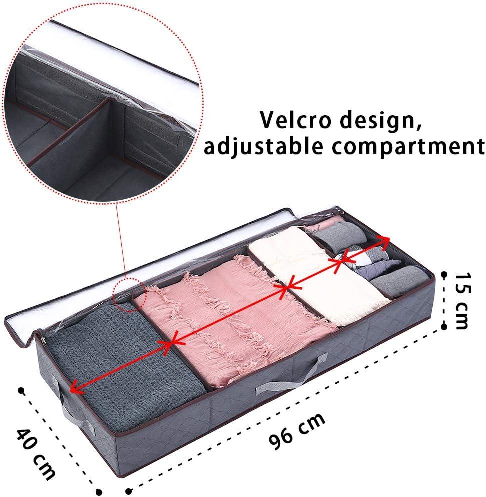 Yopih Organizador de Ropa para Debajo de la Cama Color Gris Juguetes Mantas para Ropa Zapatos tama/ño Grande 1 Pack jers/éis 96x40x15cm