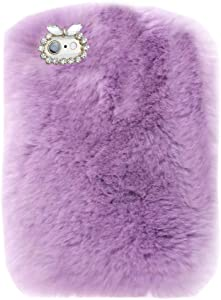 Super Deluxe Luxury Winter Fashion Bling Rhinestone Fuzzy Faux Rabbit Furry Fluffy Beaver Rex Rabbit Fur Protective Case for Lenovo Tab 2 A7-20F 7.0 inch(Light Purple)