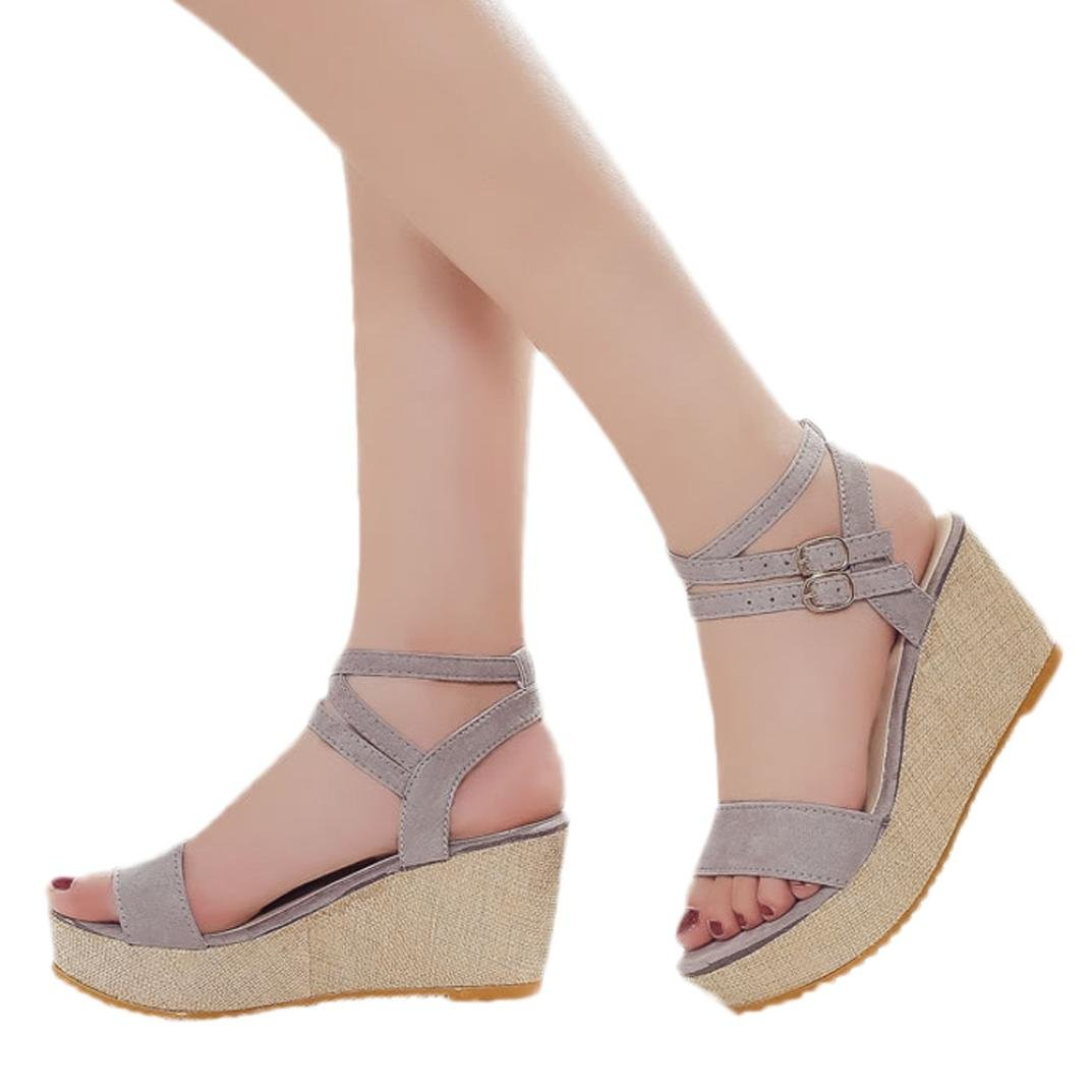 Wedge Sandals,Fashion Fish Mouth Platform High Heels Buckle Slope Shoes Jushye (37, Gray)