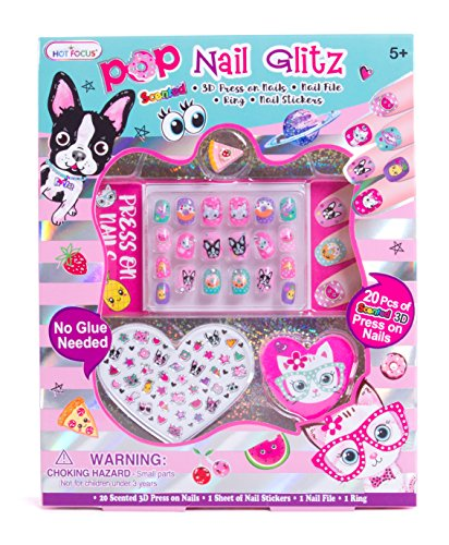 Cheap Hot Focus Pop Nail Glitz - Best Pals Nail Art Kit for Girls - 62 Piece Set Includes 3D Press on Nails, Nail Stickers, Nail File and Ring for cheap
