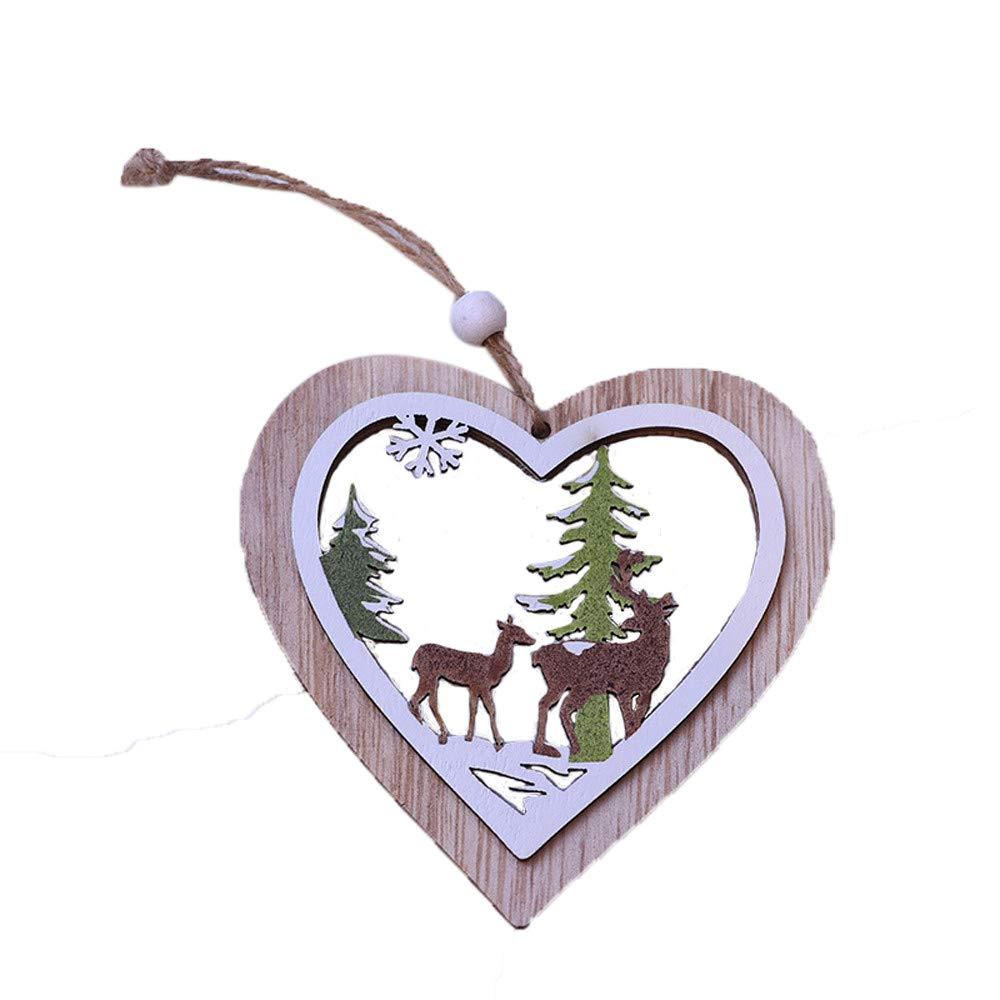 Mome ʕ •ᴥ•ʔ2018 New Christmas Decorationsʕ •ᴥ•ʔ1PC New Christmas Tree Ornaments Hanging Xmas Tree Party Home Decor 3D DIY Crafts Wooden Pendant (B)