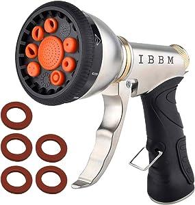 Garden Hose Nozzle Sprayer – Heavy Duty Metal Spray Gun, 9 Adjustable Patterns, High Pressure Water for Hand Watering Lawn,Garden, Patio, Dog, Washing Car, Leak Free Guarantee