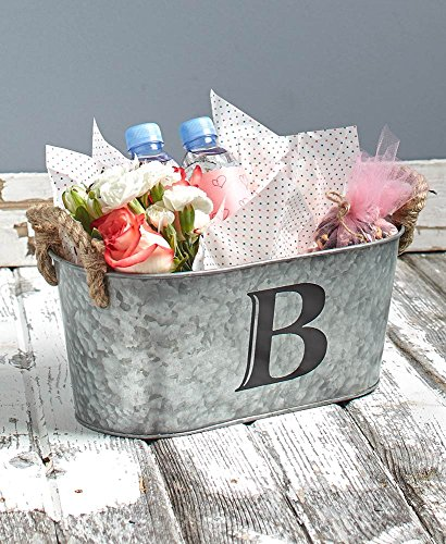 - Rustic Design Galvanized Monogram Buckets-Metal and Jute-Features Your Initial and Both Sides Have Rope-Perfect for Storing Almost Anything Around Your Home- Multiple Design Available (B)