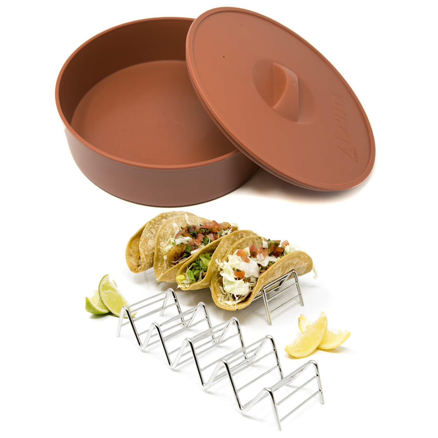Alpha Living - Tortilla Warmer with 2 Taco Holder - 10 Inch Tortilla Server with Steam Release Hole Microwavable and Insulated - Stainless Steel Taco Holder