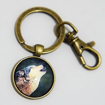 Charm Luna Lobo aullando Llavero. Luna arte Llavero Jewelry ...