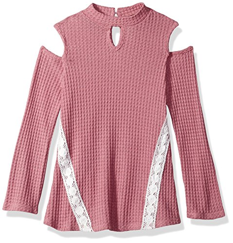 Detail Lace Trim (Amy Byer Big Girls' Cold Shoulder Thermal with Neck Detail and Lace Trim, Rose, XL)