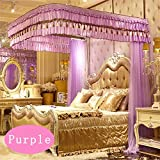 Royal- U-shaped Manually Rails Fishing Rods Mosquito Net Three-door Single Double Encryption Thickening Stainless Steel Bracket ( Color : Purple , Size : 1.5m (5 Feet) Bed )