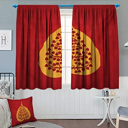 Amazon.com: Anhounine Leaf,Blackout Curtain,Artistic Design ...