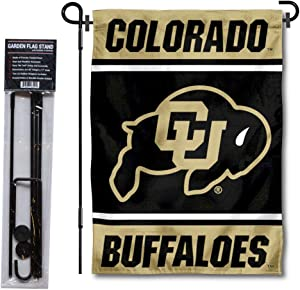 College Flags & Banners Co. Colorado Buffaloes Garden Flag and Flag Stand Pole Holder Set