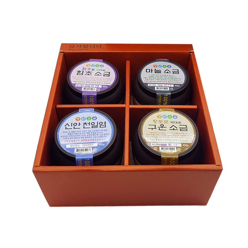 CHUNGNYEON SALT Korean Sea Salt 4 Pack Gift Set, 4 Different Unique Delicious Healthy Salt Flavors 3.52lbs