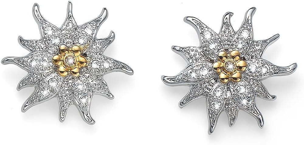 OLIVER WEBER 22708 - Pendientes con diseño de flor de las nieves y cristales de Swarovski, para mujer