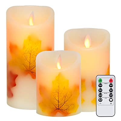 "Flameless Candles, Flickering Led Candles Set of 3 (D 3"" X H 4"" 5"" 6""), Real Wax Pillar Votive Candle and 10-Key Remote Control with 2/4/6/8-hours Timer: Home Improvement"