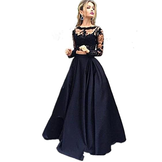 Modeldress Sheer Long Sleeve Two Piece Black Prom Dress Lace Satin Evening Dress Gown